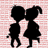 Card with cartoon silhouettes of a boy and a girl kissing Royalty Free Stock Image