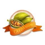 Cardamom ribbon badge Royalty Free Stock Photo