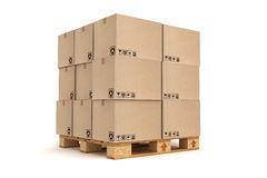 Cardboard boxes on pallet. Royalty Free Stock Photography