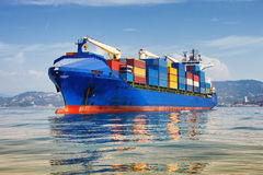 Cargo ship full of containers Royalty Free Stock Photos