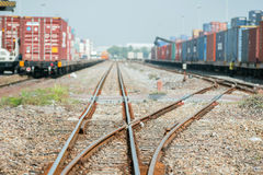 Cargo train platform with freight train container at depot Royalty Free Stock Photography