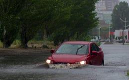 Cars in heavy rain Stock Photo