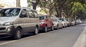 Cars parked row, car park Stock Image