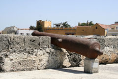 Cartagena Wall Cannon Stock Images