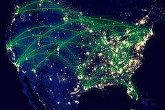 Carte de nuit des Etats-Unis Image libre de droits