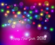 Carte 2016 de vacances de tache floue de lumières de bokeh de bonne année Photo stock