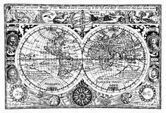 Carte du monde d'antiquité d'illustration de vecteur Image libre de droits