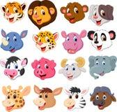 Cartoon animal head collection set Stock Photography