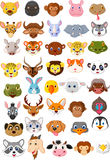 Cartoon animal head collection set Stock Images