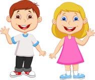 Cartoon Boy and girl waving hand Stock Photo