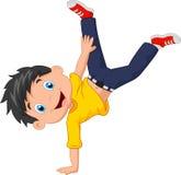 Cartoon boy standing on his hands Stock Images