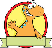 Cartoon brontosaurus dinosaur with a banner sign. Stock Photography