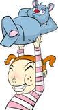 Cartoon character little girl with teddy bear Stock Photos