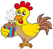 Cartoon chicken with meal box Stock Photo