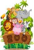 Cartoon collection zoo animals Royalty Free Stock Photo
