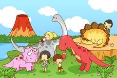 Cartoon dinosaur world of imagination with kids and children pla Royalty Free Stock Photo
