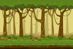 Cartoon forest landscape, endless vector nature Royalty Free Stock Photo
