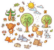 Cartoon Forest Set Stock Photo