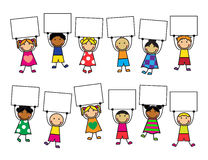 Cartoon kids with placards in their hands Stock Image