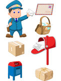 Cartoon Mail carrier with bag and letter Royalty Free Stock Photography