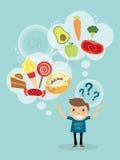 Cartoon of a man choosing between healthy and fast food Stock Photos