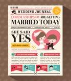 Cartoon Newspaper Wedding Invitation card Design Royalty Free Stock Photo