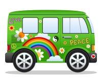 Cartoon Retro Hippie Van Stock Image