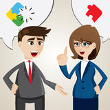 Cartoon solve problem between businessman and businesswoman Royalty Free Stock Photo