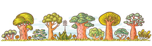 Cartoon Trees in a Row Stock Image