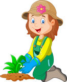 Cartoon she was plants in the garden Royalty Free Stock Photo