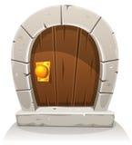 Cartoon Wooden And Stone Hobbit Door Stock Images