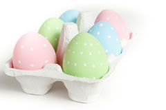 Casing with colored dotted easter eggs Stock Photos