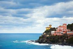 Castiglioncello landmark on cliff rock and sea. Tuscany, Italy. Stock Photo