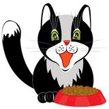 Cat and tureen with meal Royalty Free Stock Photography
