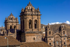 Cathedral and Society of Jesus Church Bell Towers Cuzco Peru Stock Photos