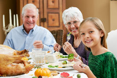 Celebrating Thanksgiving With Grandparents Royalty Free Stock Photos