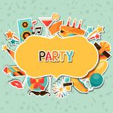Celebration background with party sticker icons Stock Photography