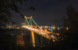 A cena da noite da ponte de Haicang Foto de Stock