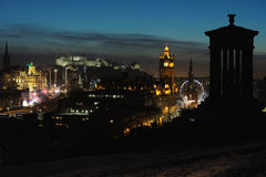 Central Edinburgh, Scotland, UK, at nightfall Royalty Free Stock Photography
