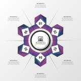 Cerchio infographic porpora astratto Modello di disegno moderno Illustrazione di vettore Fotografie Stock