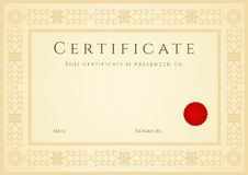 Certifikat-/diplombakgrund (mall). Ram Royaltyfri Foto