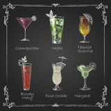 Chalk drawings. cocktail menu Royalty Free Stock Photography