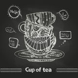 Chalk drawings. Decorative cup of coffee Royalty Free Stock Images