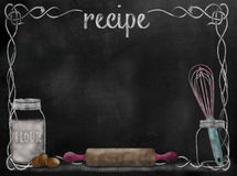 Chalkboard Recipe background with baking items Stock Images