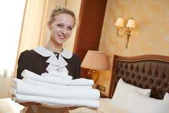 Chambermaid at hotel service Royalty Free Stock Photo