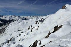 Champagny, Winter landscape in the ski resort of La Plagne, France Stock Photos