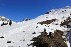 Champagny, Winter landscape in the ski resort of La Plagne, France Stock Image