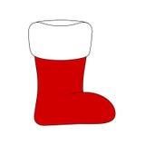 Chaussette de Noël, icône de botte de Santa, symbole, conception Illustration de vecteur d'hiver sur le fond blanc Photos stock