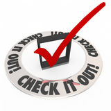 Check It Out Words Box Mark Ring Explore Inspect Adventure Stock Photo
