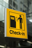 Check-in sign at airport Royalty Free Stock Photo